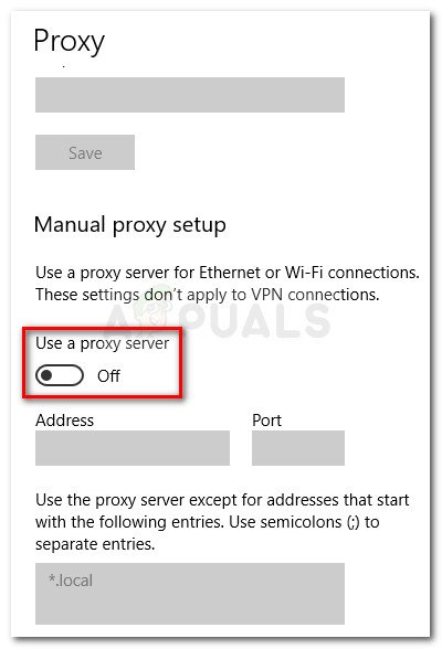 Disable the Use a proxy server toggle