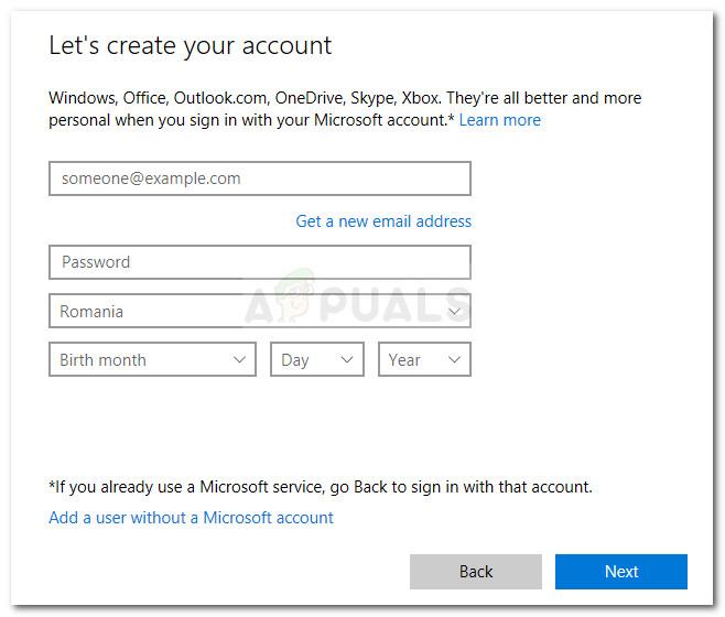 Insert user credentials