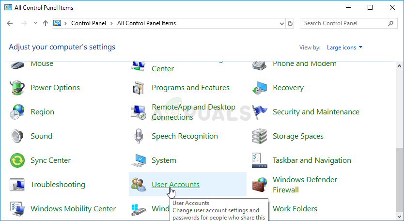 User Account in Control Panel