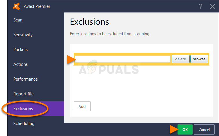 Avast Exclusions