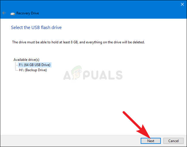 Creating a USB recovery drive