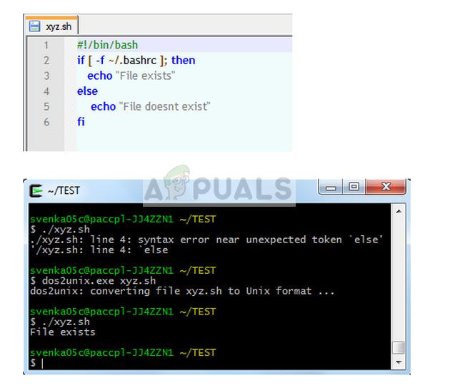 Using 'dos2unix.exe' command