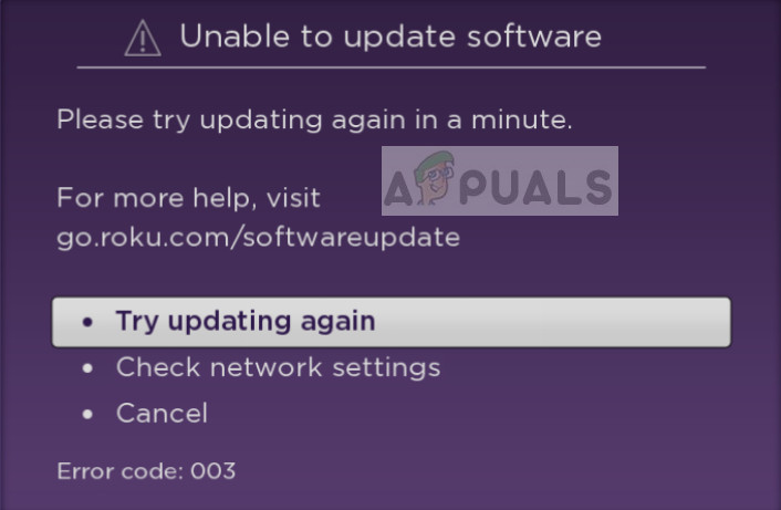 Roku Error Code 003 when updating the device