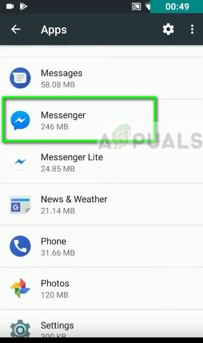 Messenger in Android Application Manager