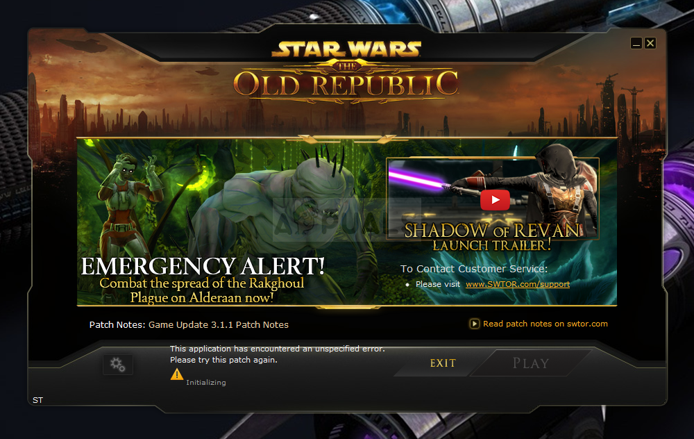 """SWTOR """"This application has encountered an unspecified error"""""""