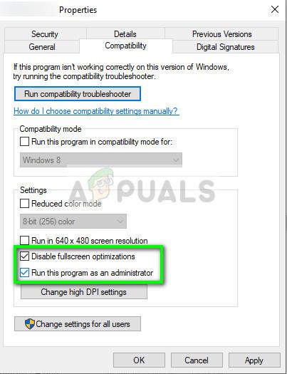Disabling Full Screen Optimization