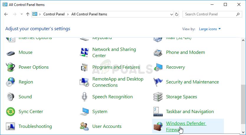 Opening Windows Firewall settings