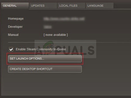 Steam - Set launch options