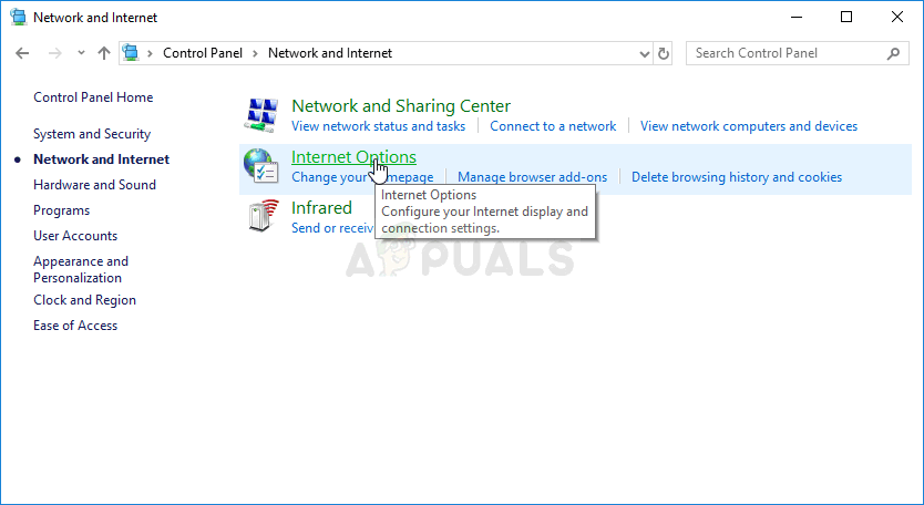 Internet Options in Control Panel
