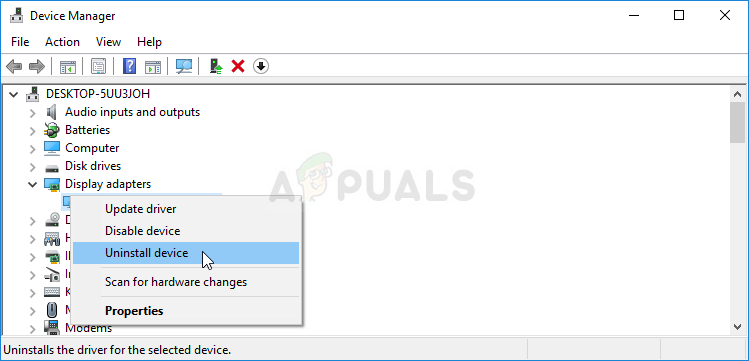 Uninstalling the graphics adapter