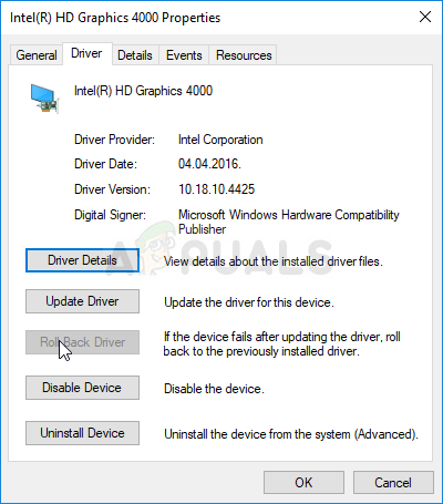 Rolling back the graphics driver