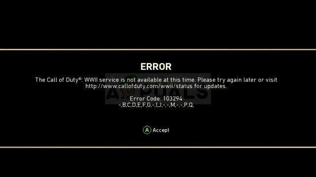 Call of Duty WW2 Error Code 103294