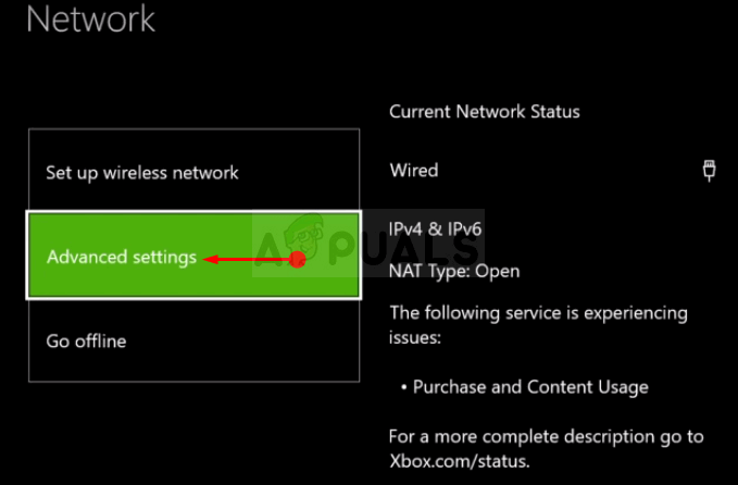 Xbox One Advanced Network Settings