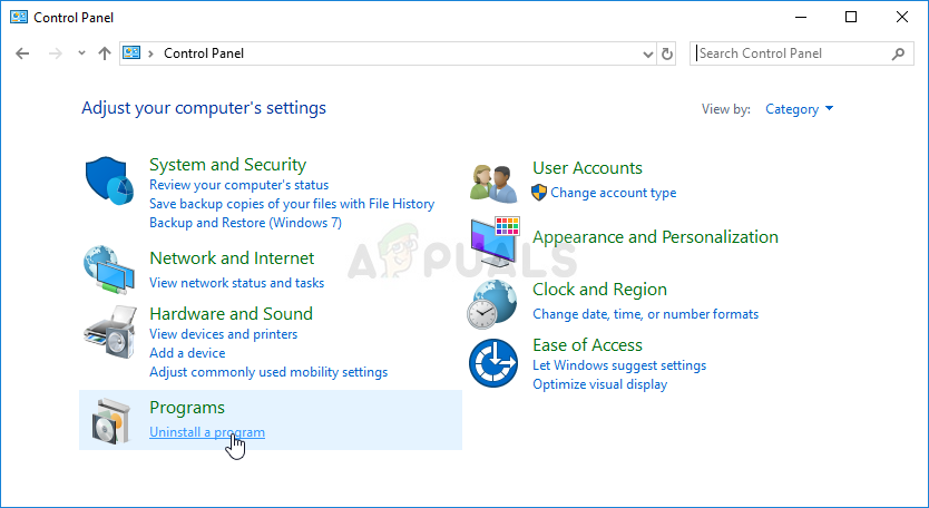 Uninstall a program in Control Panel