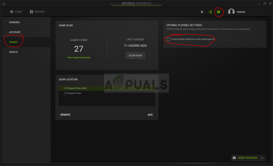GeForce Game optimization settings
