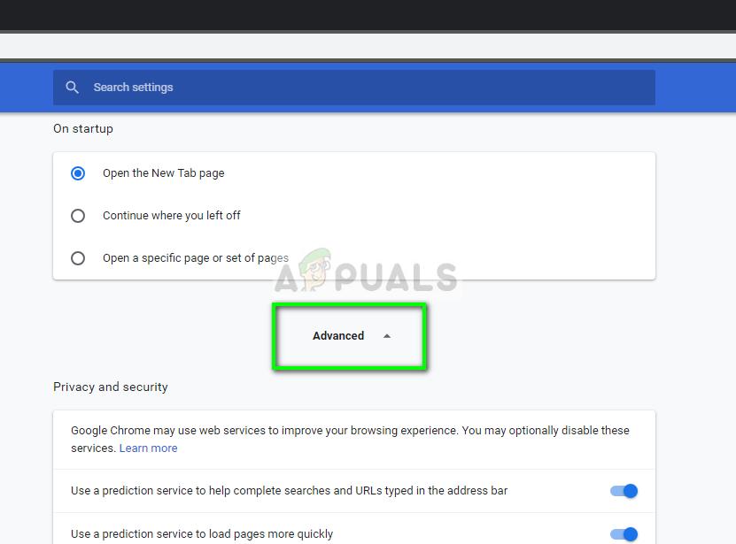 Advanced settings - Google Chrome in Windows 10