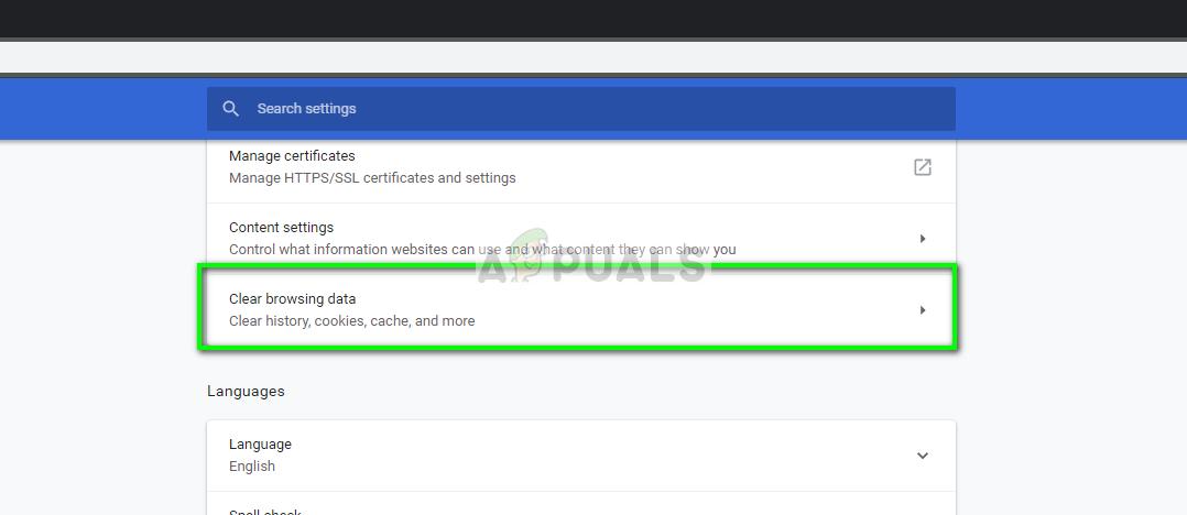 Clear browser data in Google Chrome Windows 10