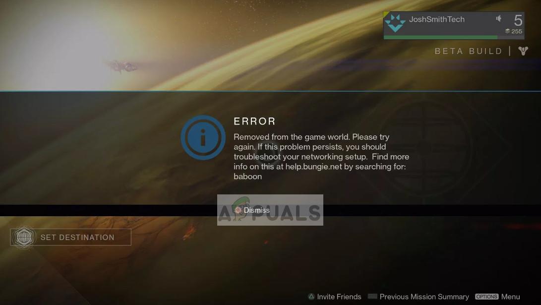 Destiny Error Code Baboon