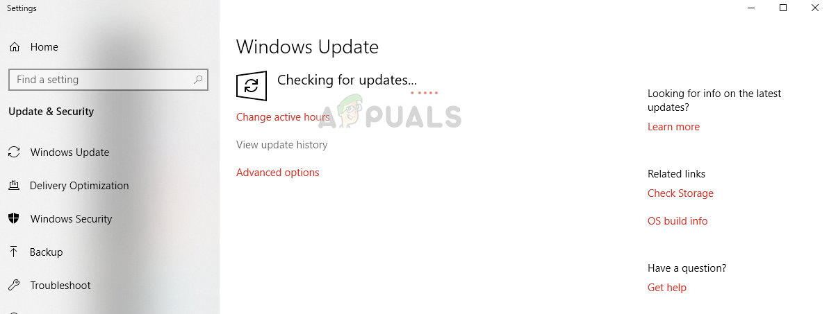 Checking for latest updates in Windows 10