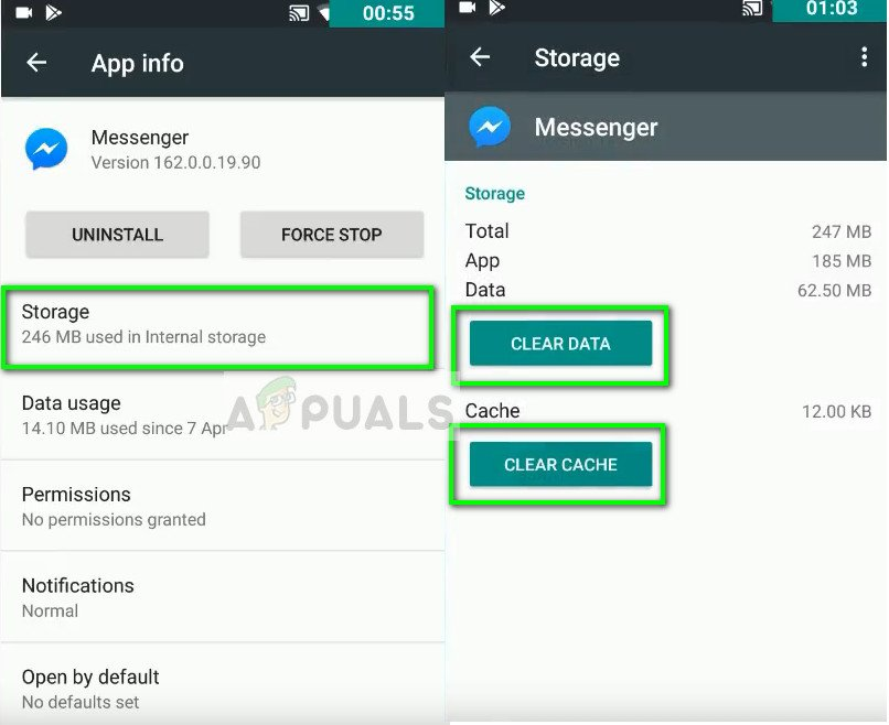 Clearing data in Messenger