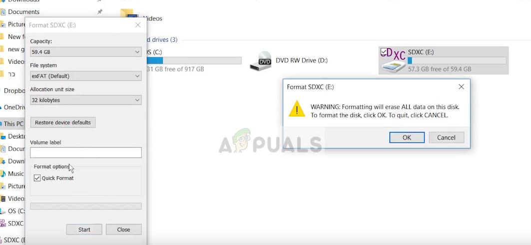 Formatting SD Card - File Explorer