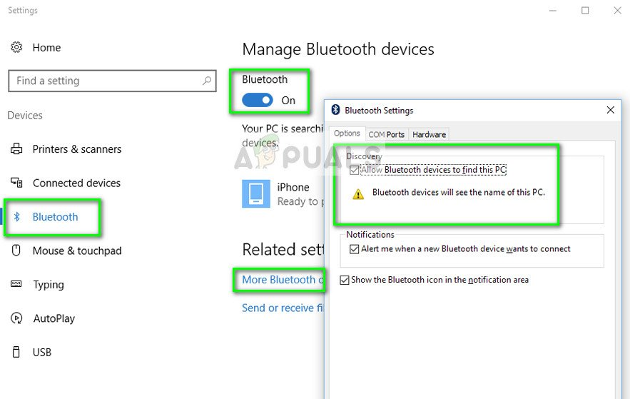 Allow Bluetooth Devices to find this PC - Windows Settings