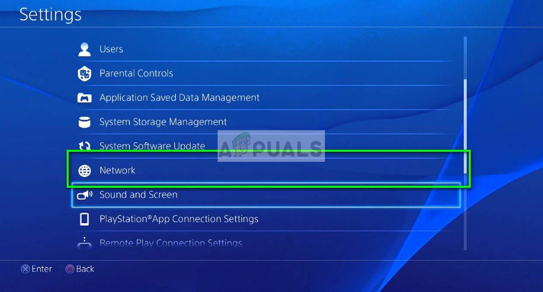 Network Settings in PS4 console
