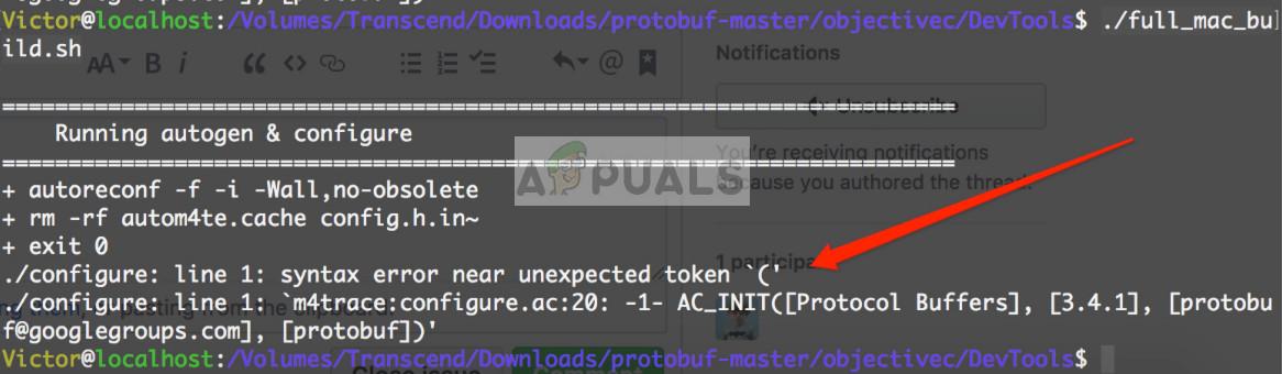 Syntax Error near unexpected token `('