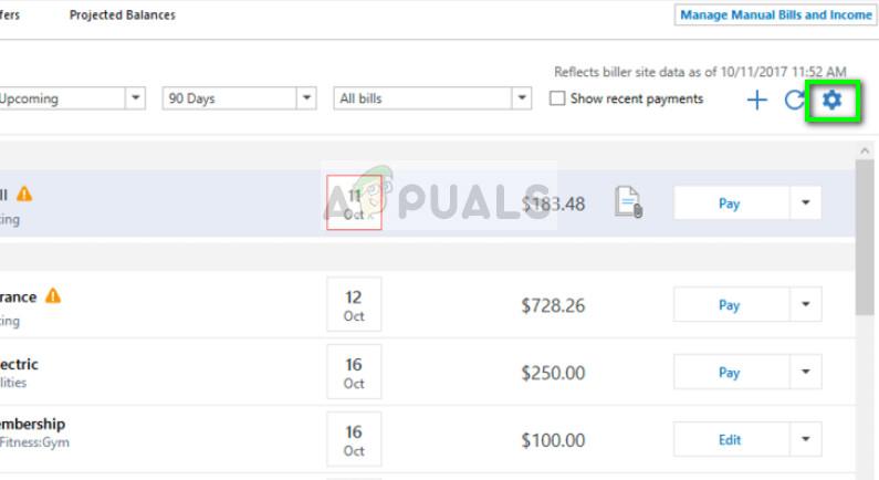 Updating Account information in Quicken on Windows 10