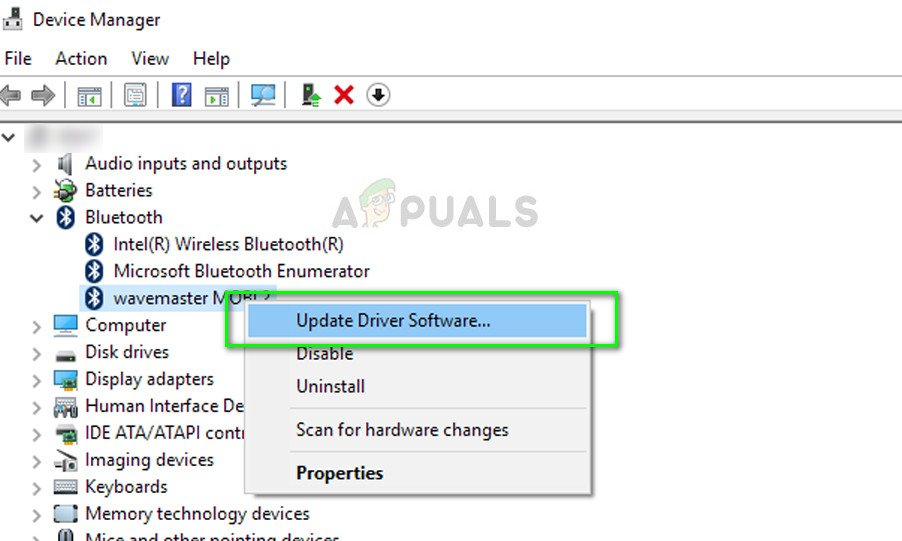 Update Bluetooth driver software - Device Manager
