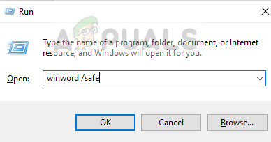 Opening Word in Safe Mode in Windows 10