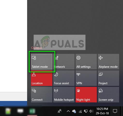 Tablet mode - Windows 10