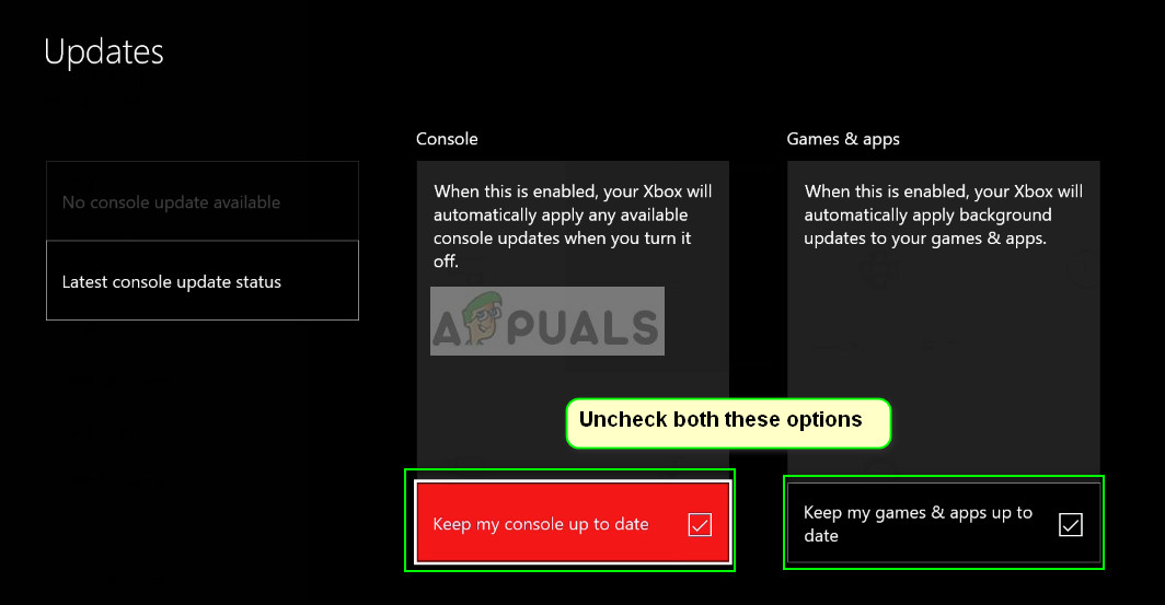 Disabling automatic updates - Xbox One