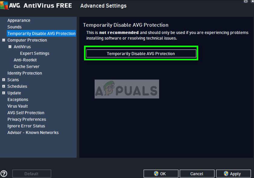 Temporarily disable antivirus in AVG Free