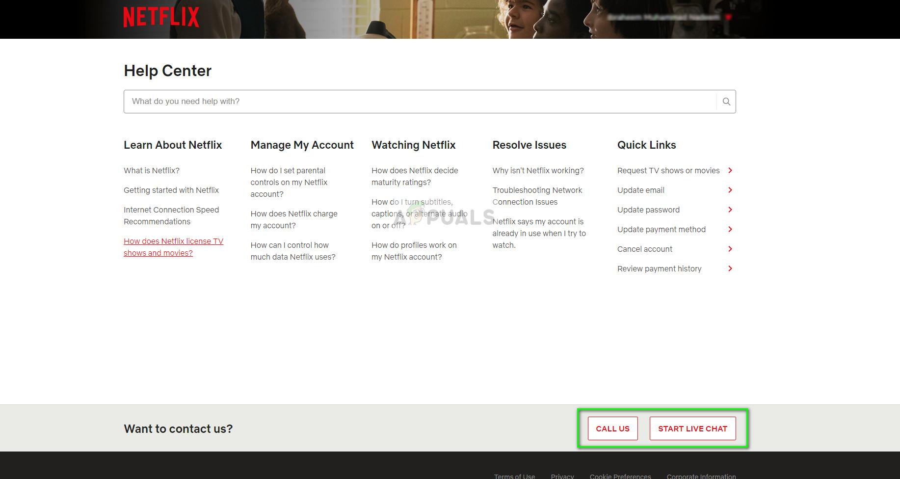 Netflix Official Help website