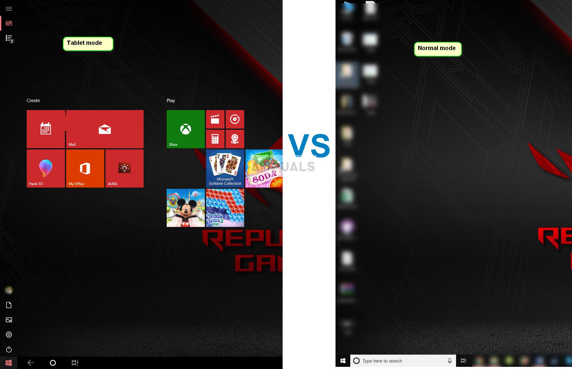 Tablet mode vs Normal mode in Windows 10