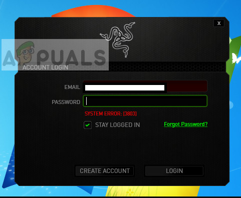 Razer Synapse Error 3803 in Windows