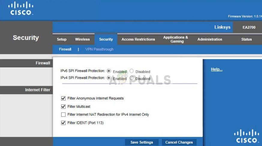 Cisco router configuration page