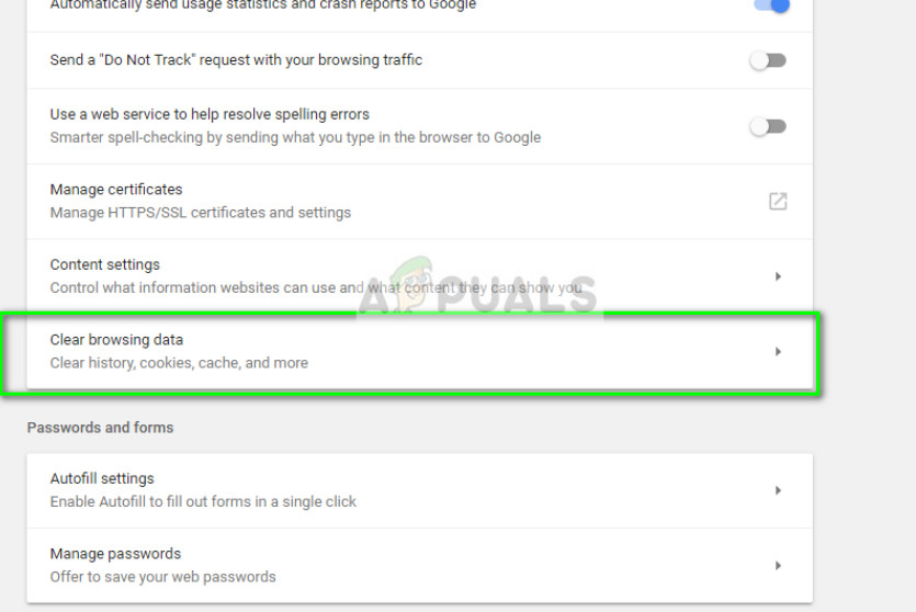 Clearing browsing data in Google Chrome