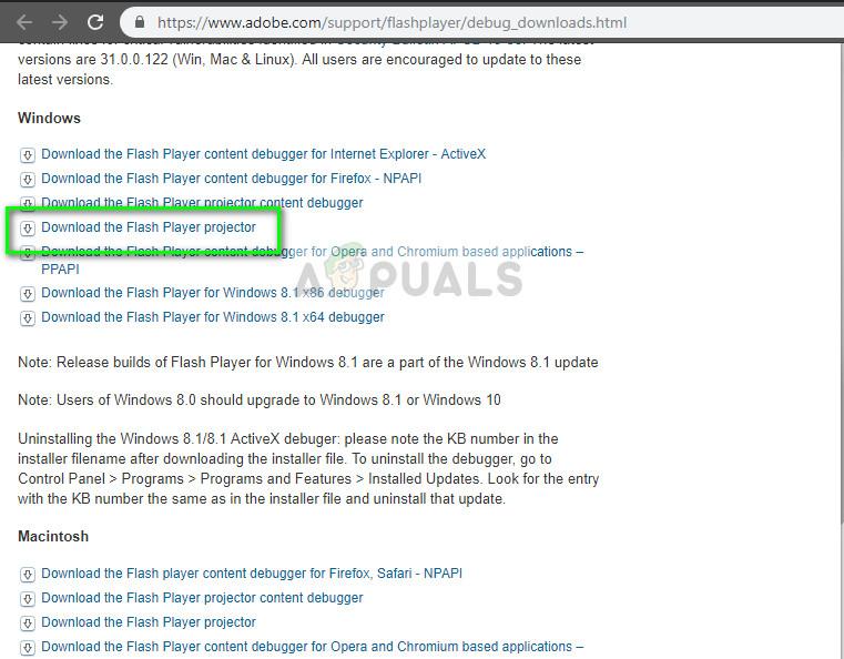 Adobe Flash Player Projector Windows 10 herunterladen