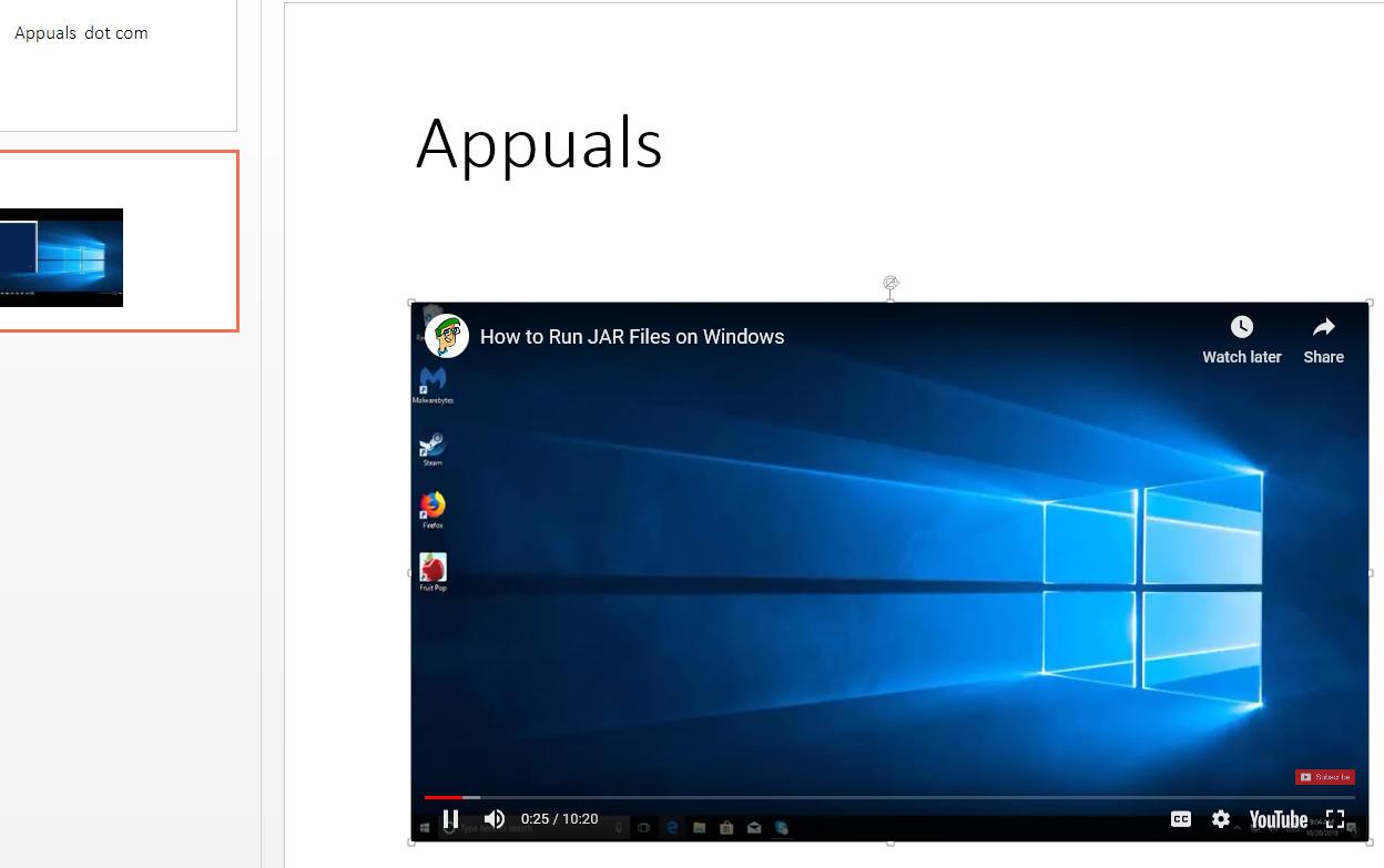 In PowerPoint in Windows 10 eingebettetes Video
