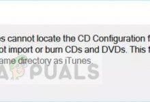 iTunes cannot locate CD Configuration folder in Windows 10