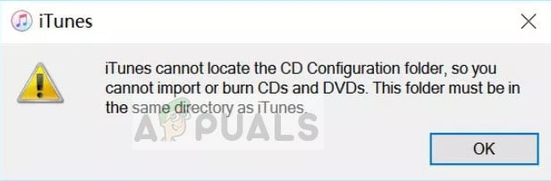 iTunes cannot locate CD Configuration folder in Windows 10