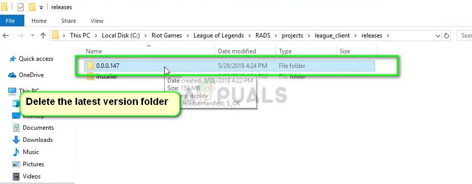 Releases folder in League of Legends