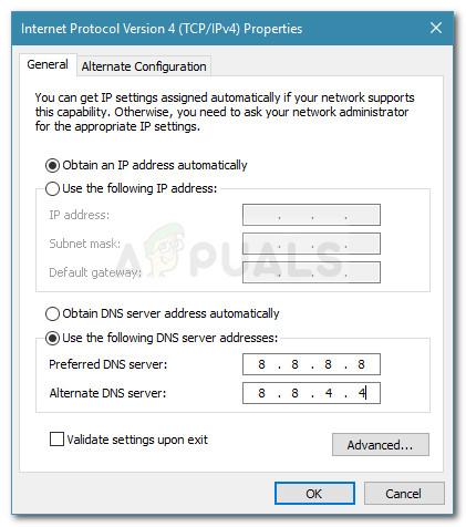 Changing DNS settings and validating