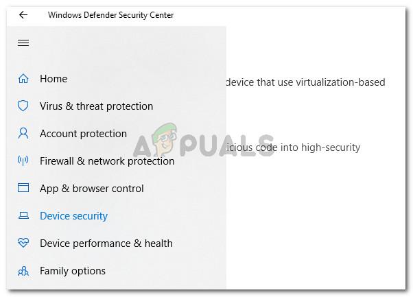 Rufen Sie das Gerätesicherheitsmenü von Windows Defender auf