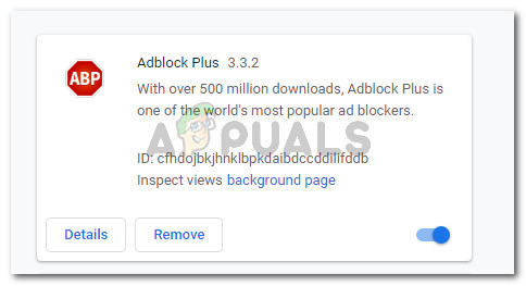 Adblock Plus listed in the Extensions tab