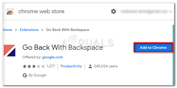 Adding the Go Back with Backspace Extension to Chrome