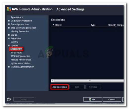 Adding an exclusion to AVG