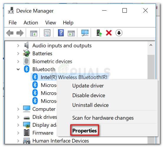 Klicken Sie mit der rechten Maustaste auf Ihren Bluetooth-Adaptereintrag und klicken Sie auf Eigenschaften